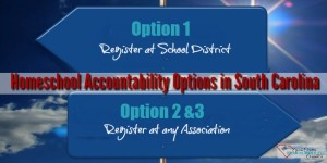 What is Option 1, Option 2 and Option 3 homeschool accountability in South Carolina?