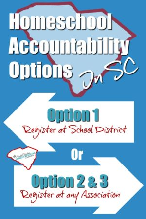 What is option 1, 2 and 3 in South Carolina Homeschool Law? This is the homeschool accountability options. It's really very easy to homeschool in South Carolina.