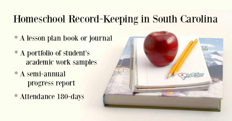 The basic record keeping requirements to get started homeschooling in South Carolina.