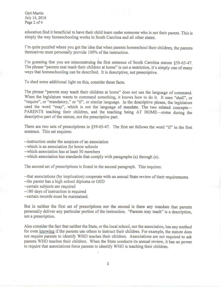 HSLDA letter 2