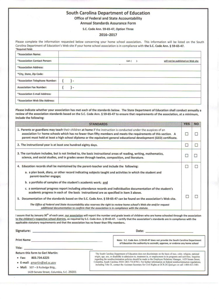 Annual Standards Assurance Form