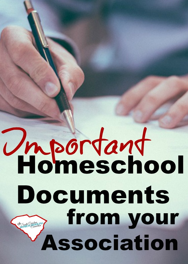 In South Carolina, these important homeschool documents verify that you are legally compliant. Talk to your association director about their procedures for obtaining these important homeschool documents.