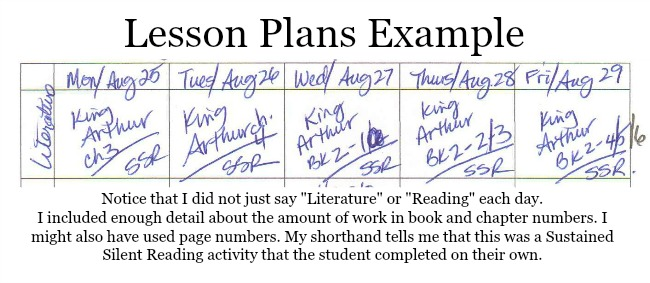 Example of my homeschool lesson plans. I've included enough detail about the content of work that I can recall what was learned that day.