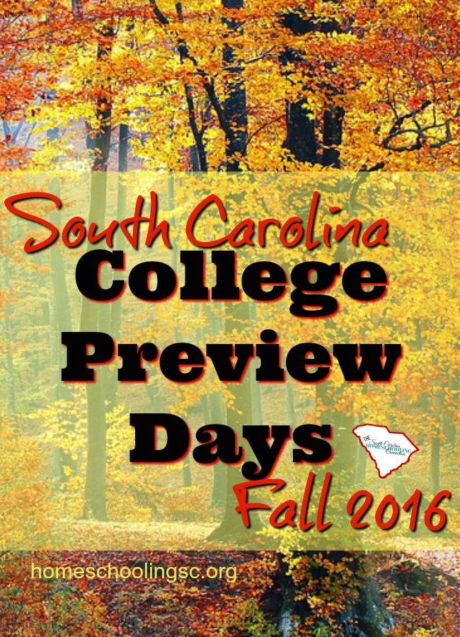 You can do virtual visits or schedule a visit any day. But, I love the College Preview Days, when the college does some extra special programs and events for prospective students. Here's a list of every college campus I could find in South Carolina for Fall 2016