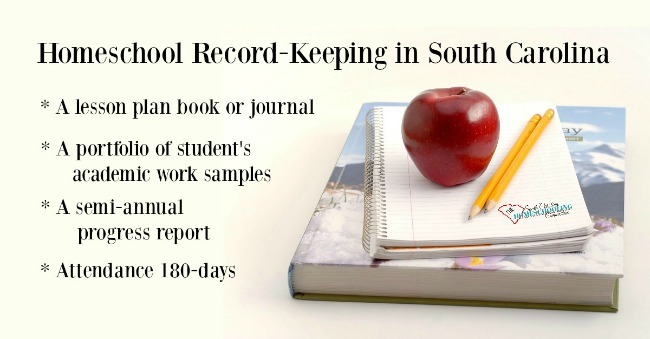 Minimum record keeping requirements for homeschooling in South Carolina.