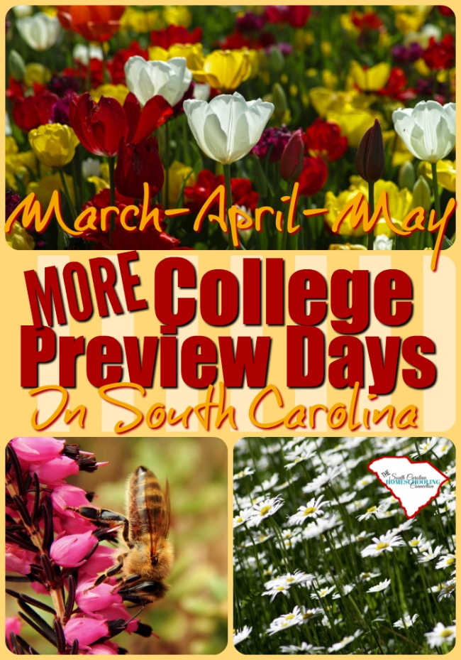 More College Preview Days Spring 2017 in South Carolina