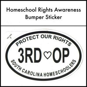 Get your homeschool rights awareness bumper sticker here.
