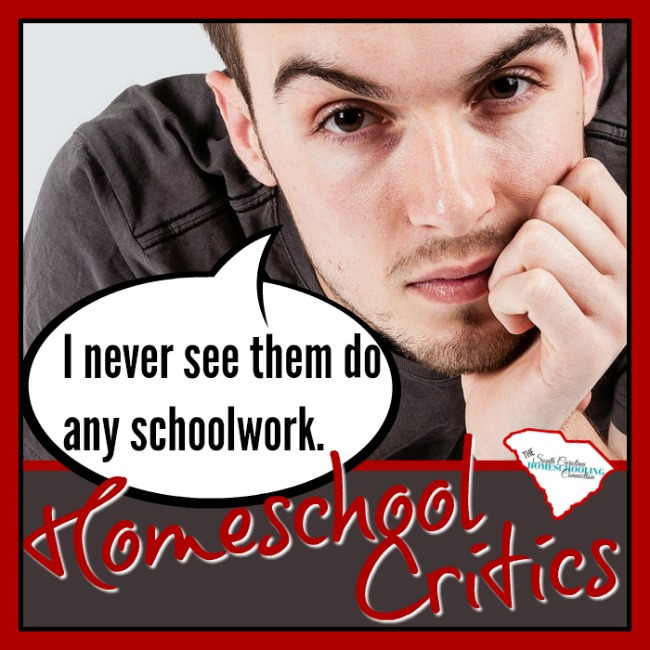 Homeschool critic said: I never seen them do schoolwork. He has seen ONE family. In a little cross-section of their life...and has formed an opinion about the whole homeschooling movement. I don't know these people. I doubt I will ever meet them. But, I feel compelled to point out some defenses on their behalf. I got your back, strangers.
