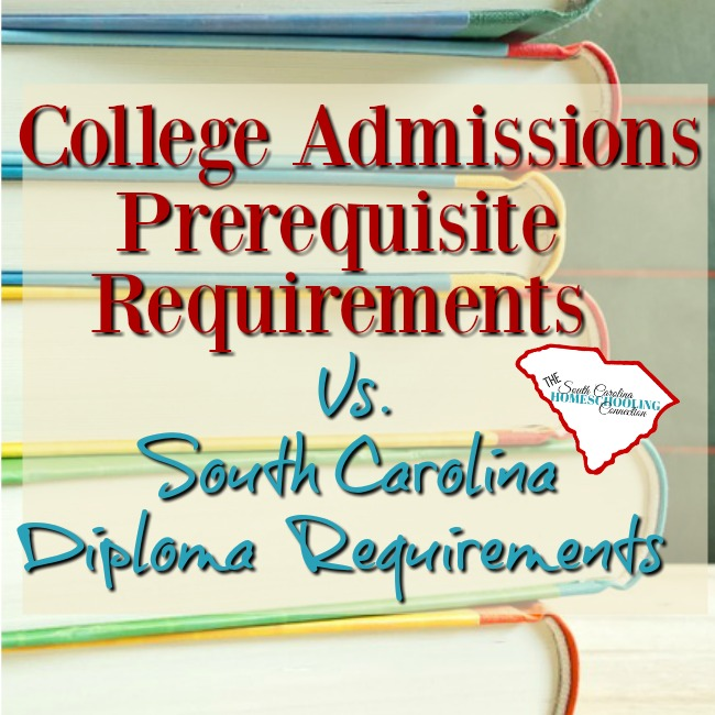 How do college admissions prerequisites differ from the South Carolina diploma standard?