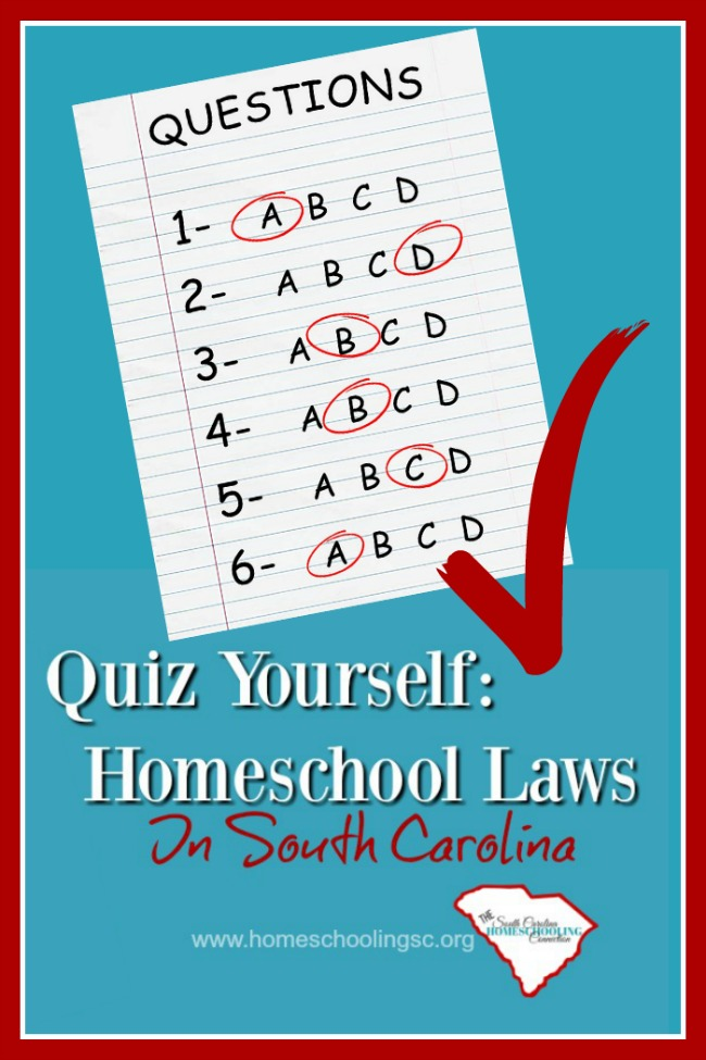 Whether you're new...or whether you've been homeschooling for a while. Here is your chance to see what you REALLY know about homeschooling laws in South Carolina.  Quiz Yourself: Homeschool Laws In SC