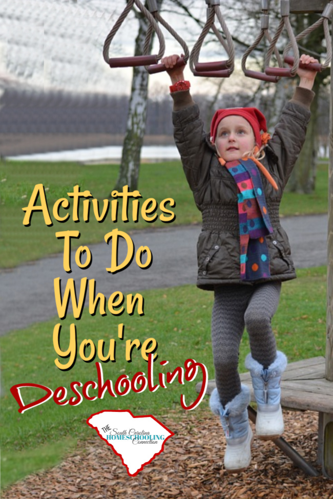 Deschooling is the mental adjustment period when you leave the school system. Let's consider some deschooling activities to do while you adjust to your new homeschooling lifestyle.