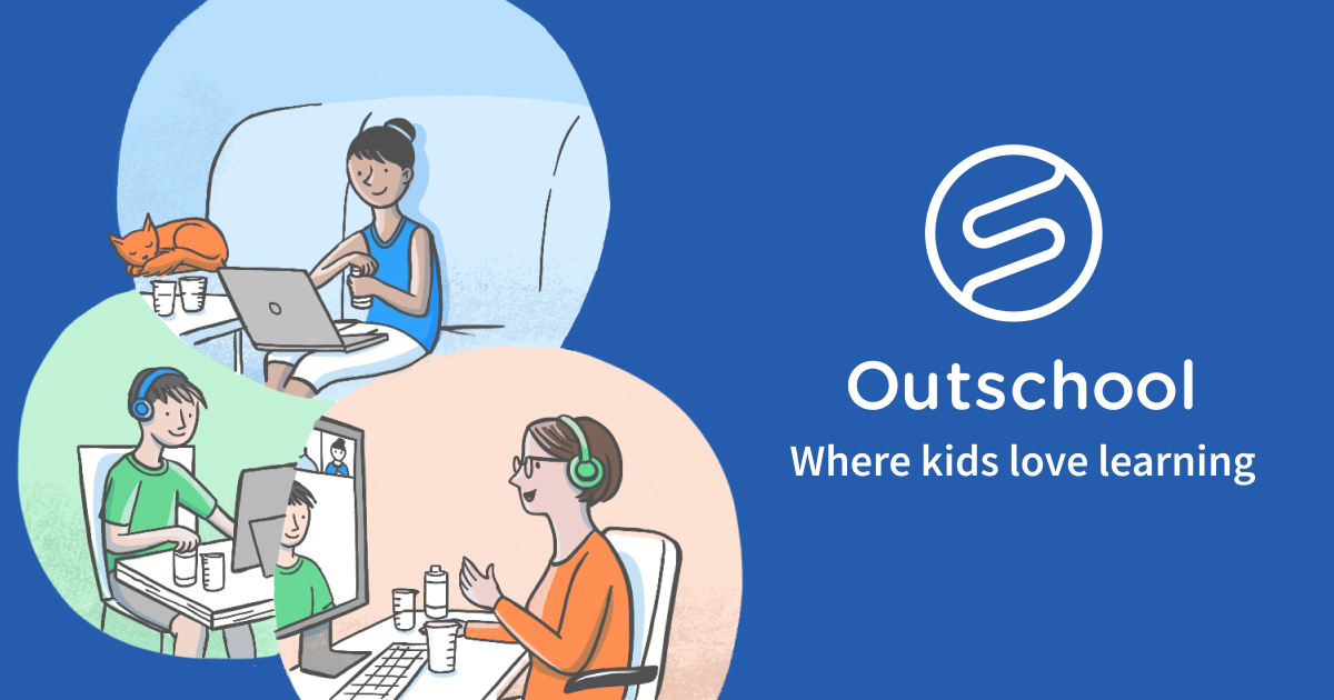Outschool logo with cartoon kids on computers