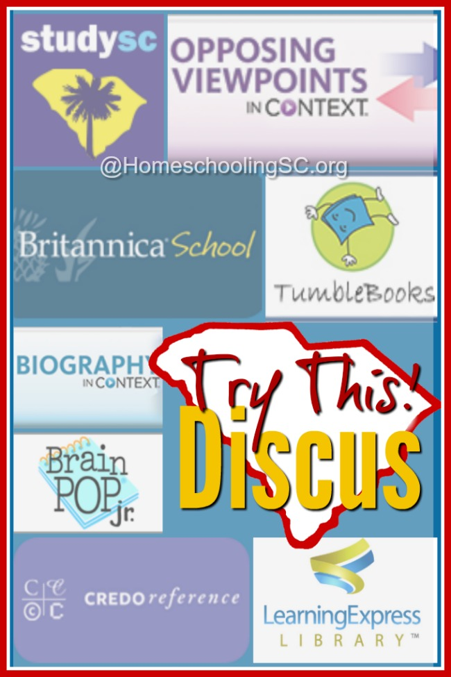 Move over Google. It's time to try this instead: Discus. The Discus resource is one of my favorite homeschool tools. And it's FREE for all residents in South Carolina!