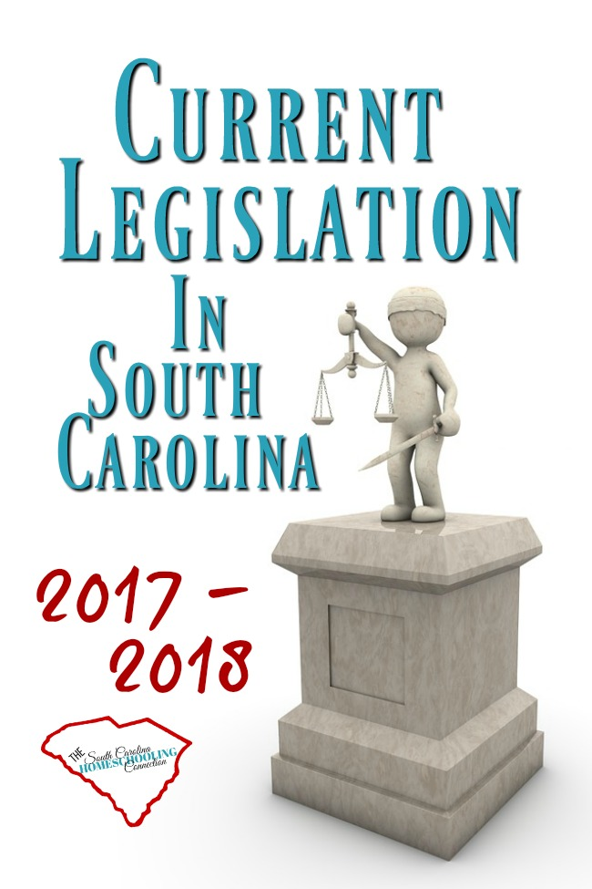 These are the bills that have been introduced in the current SC legislation 2017-2018 session. The last day of this session will be May 10, 2018. Any bills that haven't been made into law by then will have to be started all over again in the next session.