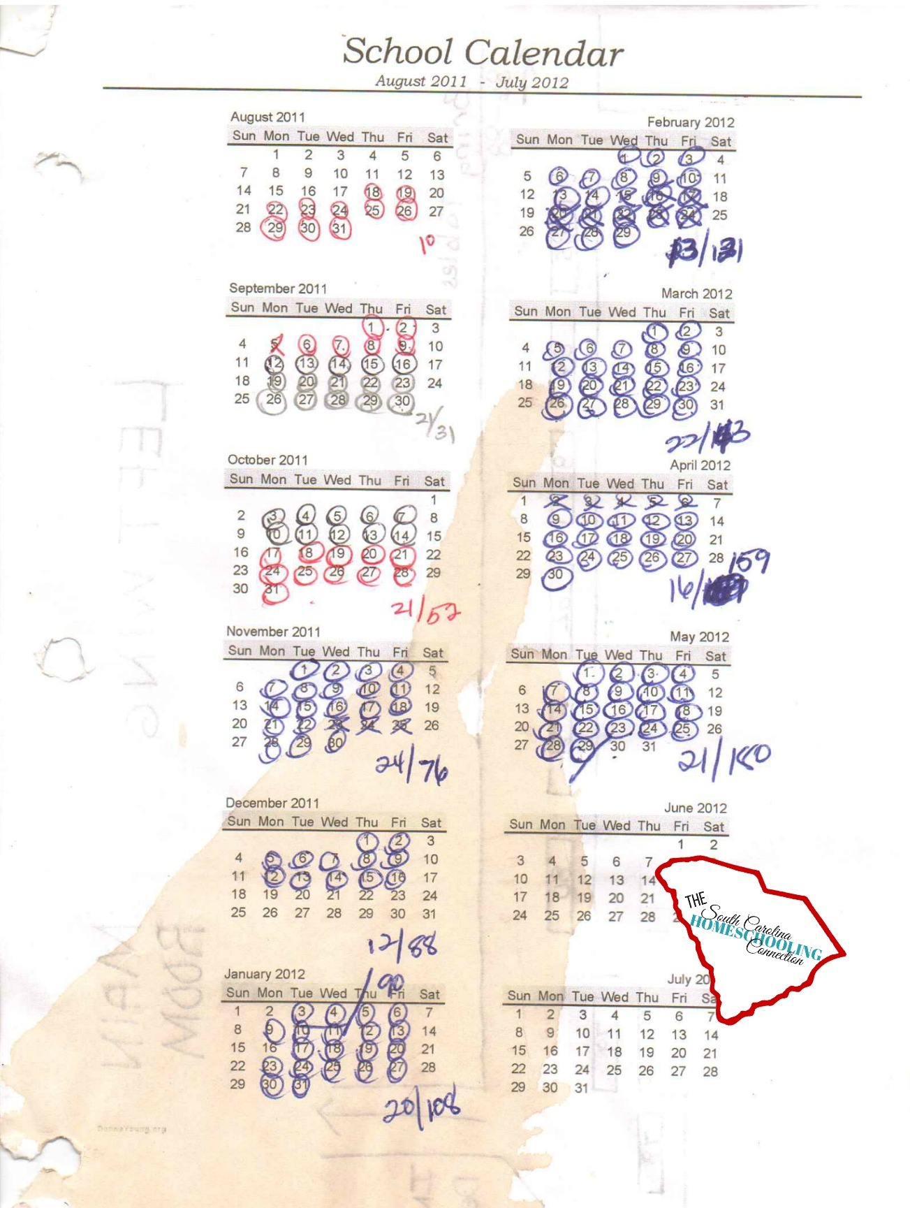 This calendar has the authenticity factor with the coffee stain and the different colored pens. My calendar examples run from August thru July. But, you can also find a printable calendar that runs from June-May, July-June, or September-August. You can start counting your days anytime you want.