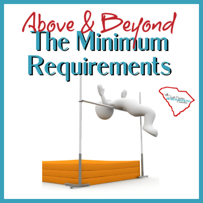 Figurine jumping over a high bar. Above and beyond the minimum requirements