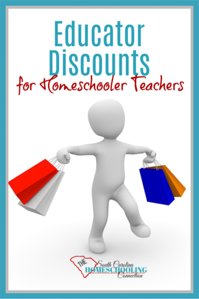 Where can you get educator discounts for homeschool teachers? Figurine holding shopping bags