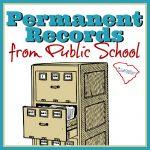 File cabinet with public school permanent records