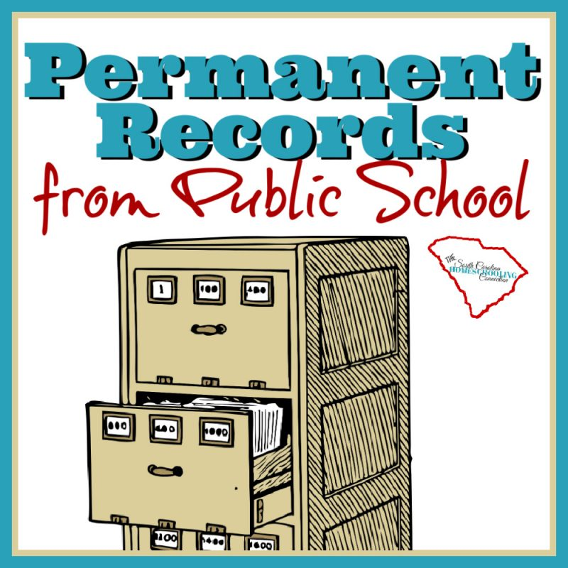 File cabinet with public school permanent records