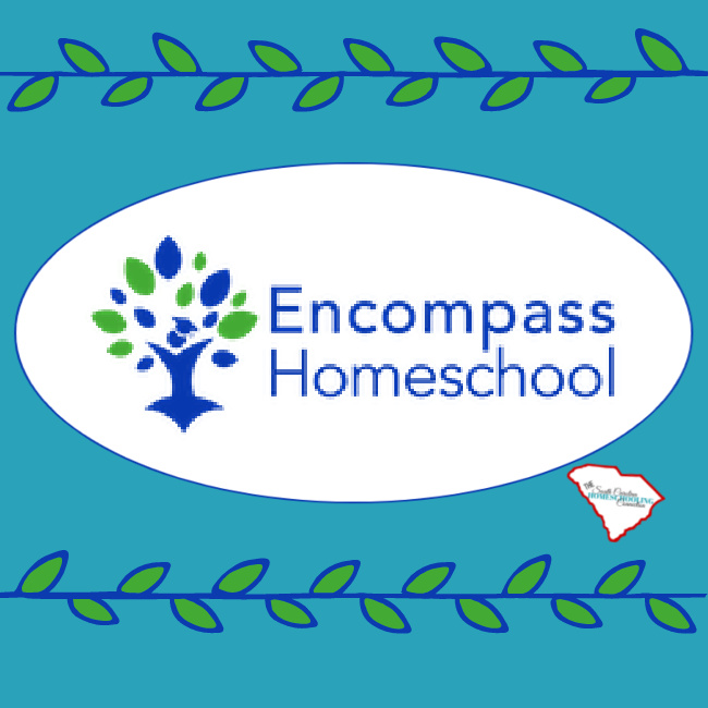 Encompass Homeschool is a 3rd Option Accountability association in SC. Tree logo and vines.